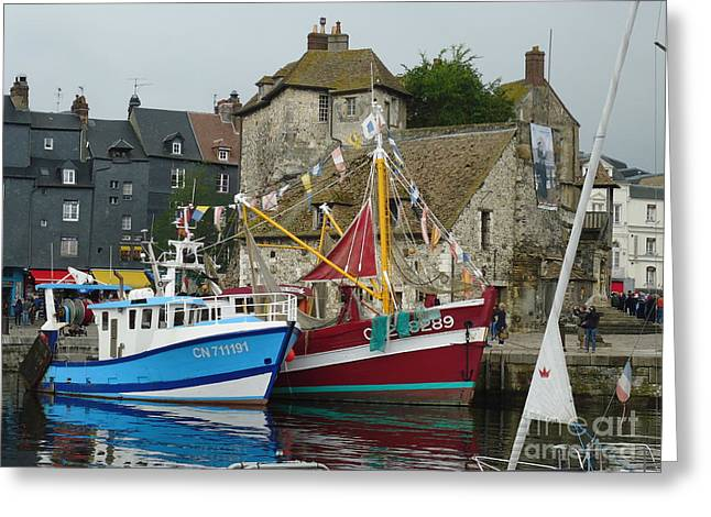 Historic Ship Greeting Cards - Trawlers in Honfleur Greeting Card by Barbie Corbett-Newmin