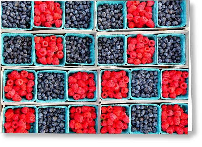 Baskets Of Strawberries Greeting Cards - Trays of Fresh Blueberies and Raspberries Greeting Card by Jeff Lowe