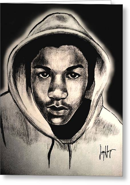 Hoodies Drawings Greeting Cards - Trayvon Greeting Card by Joyce Hayes