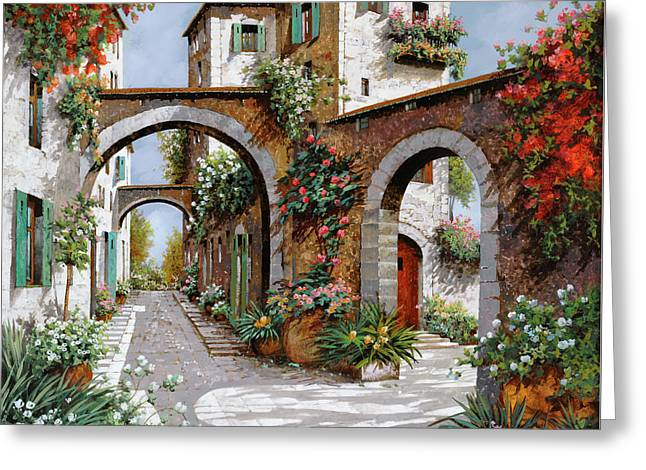 Landscape. Scenic Paintings Greeting Cards - Tre Archi Greeting Card by Guido Borelli