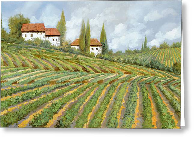 Vineyards Paintings Greeting Cards - Tre Case Bianche Nella Vigna Greeting Card by Guido Borelli