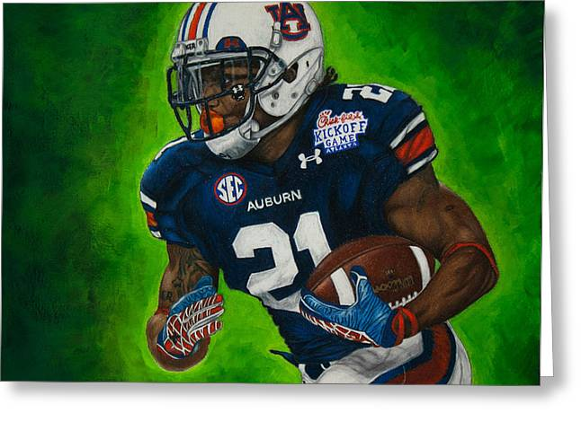 National Champions Greeting Cards - Tre Mason Greeting Card by Lance Curry