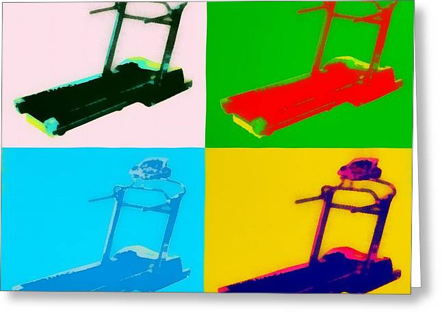 Gym Mixed Media Greeting Cards - Treadmill Pop Art Greeting Card by Dan Sproul