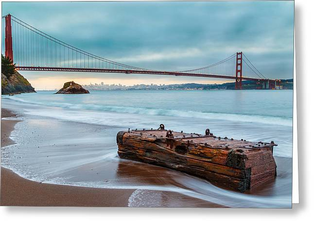 Beach Landscape Greeting Cards - Treasure and the Golden Gate Bridge Greeting Card by Sarit Sotangkur