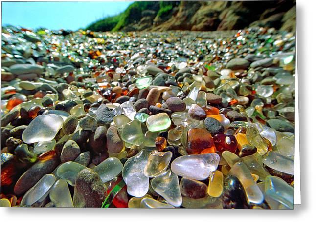 Glass Pebble Greeting Cards - Treasure Beach Greeting Card by Daniel Furon