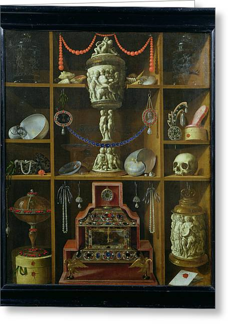 Cupboard Greeting Cards - Treasure Chest, 1666 Oil On Canvas Greeting Card by Johann Georg Hinz