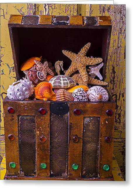 Chest Greeting Cards - Treasure Chest Full Of Sea Shells Greeting Card by Garry Gay