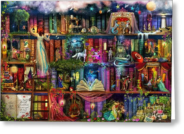 Fantasy Tree Greeting Cards - Fairytale Treasure Hunt Book Shelf Greeting Card by Aimee Stewart
