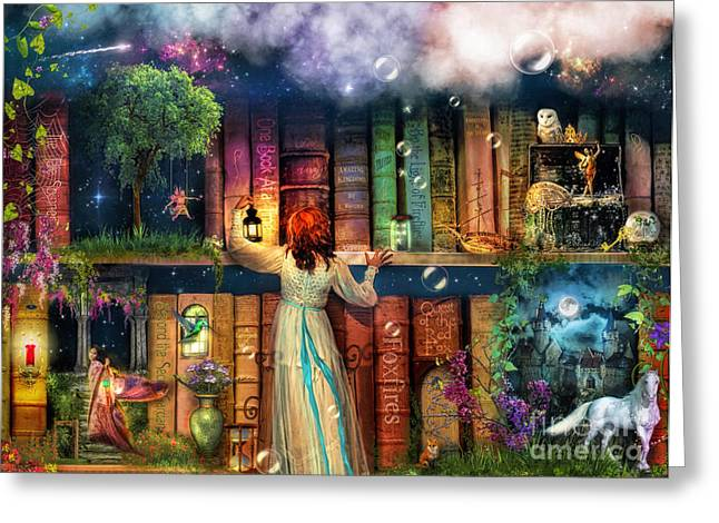 Aladdin Greeting Cards - Fairytale Treasure Hunt Book Shelf Variant 2 Greeting Card by Aimee Stewart