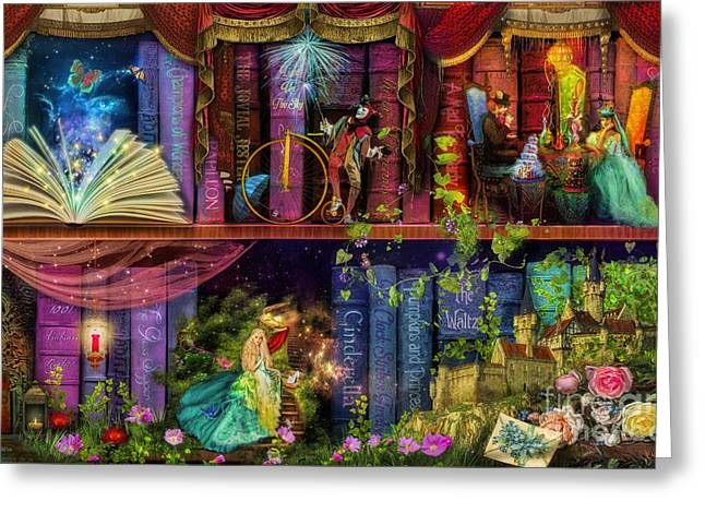 Stewart Greeting Cards - Fairytake Treasure Hunt Book Shelf Variant 4 Greeting Card by Aimee Stewart