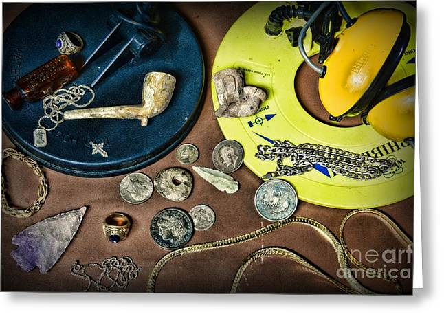 Gold Ring Greeting Cards - Treasure Hunter - Metal Detecting Greeting Card by Paul Ward