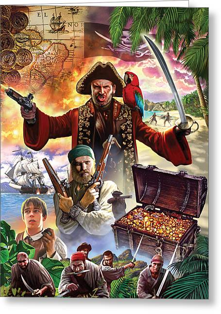 Gunman Greeting Cards - Treasure Island Greeting Card by Steve Crisp