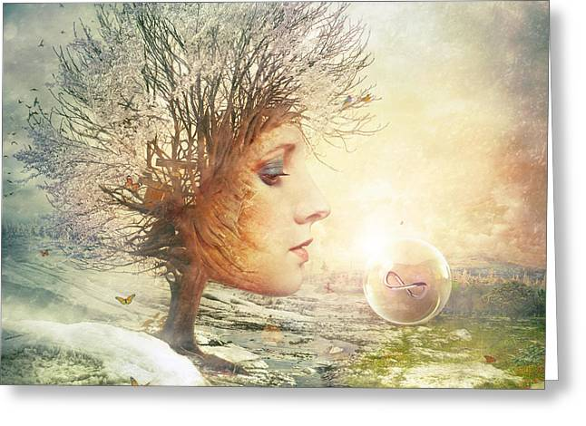 Surreal Fantasy Trees Landscape Greeting Cards - Treasure Greeting Card by Mario Sanchez Nevado
