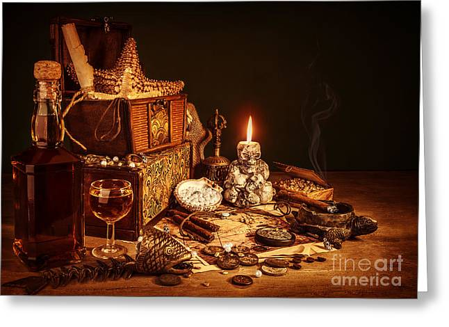 Wine Accessories Greeting Cards - Treasure still life Greeting Card by Anna Omelchenko