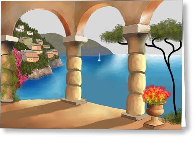 Treasures Of Amalfi Greeting Card by Larry Cirigliano