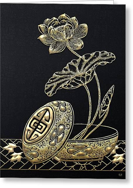 Vintage China Greeting Cards - Treasures of China - A Golden Flower on Charcoal Black Greeting Card by Serge Averbukh