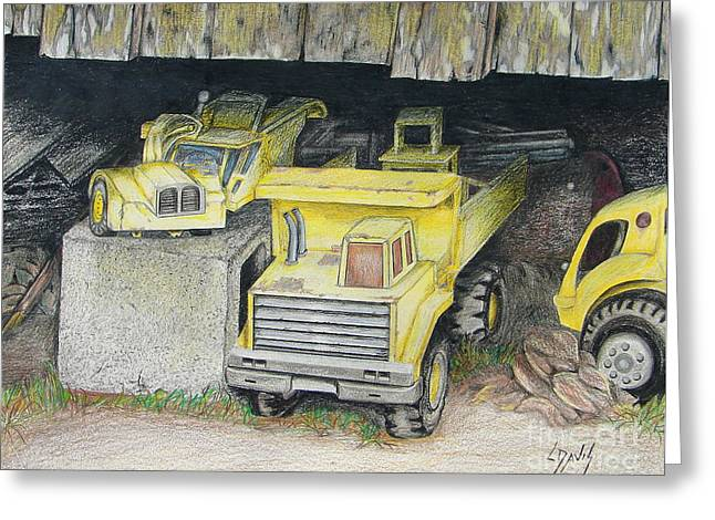Old Barn Drawing Greeting Cards - Treasures Under the Barn Greeting Card by Lew Davis