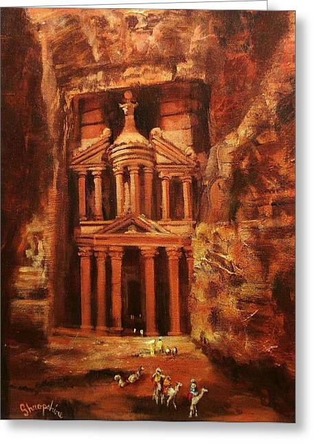 Rose Red City Greeting Cards - Treasury of Petra Greeting Card by Tom Shropshire