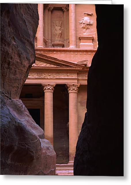 Treasury Through The Rocks, Petra, Wadi Greeting Card by Panoramic Images