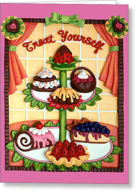 Bright. Table Greeting Cards - Treat Yourself Greeting Card by Amy Vangsgard