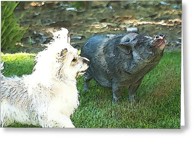 Hairy Pig Greeting Cards - Treats for Woody and Schnitzel Greeting Card by Artist and Photographer Laura Wrede