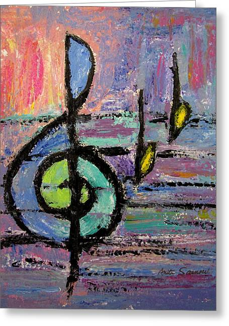 Clef Greeting Cards - Treble Clef Greeting Card by Anita Burgermeister