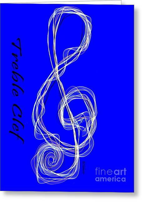 Motivational Poster Greeting Cards - Treble Clef Blues Greeting Card by Barbara Chichester