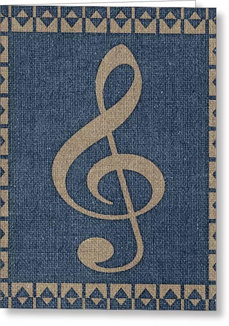 Treble Clef Fabric Greeting Card by Flo Karp