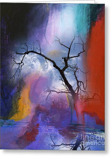 Levi Greeting Cards - Storm and tree Greeting Card by Stella Levi
