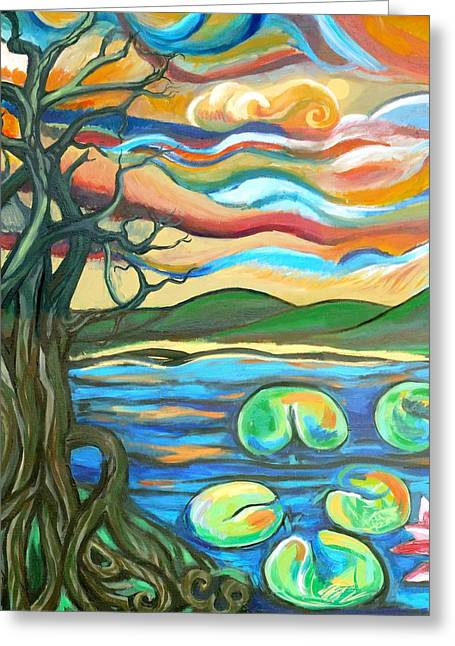 Tree Roots Greeting Cards - Tree And Lilies At Sunrise Greeting Card by Genevieve Esson