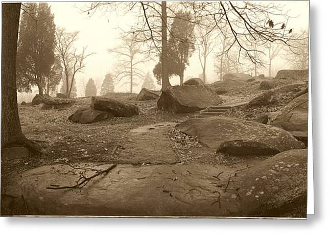Tree and Steps at Devils Den - Gettysburg Greeting Card by Jan Faul