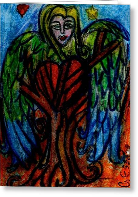 Strength Paintings Greeting Cards - Tree Angel Greeting Card by Genevieve Esson
