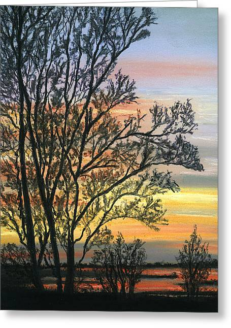 Sunset Greeting Cards Pastels Greeting Cards - Tree at Sunset Greeting Card by Sarah Dowson