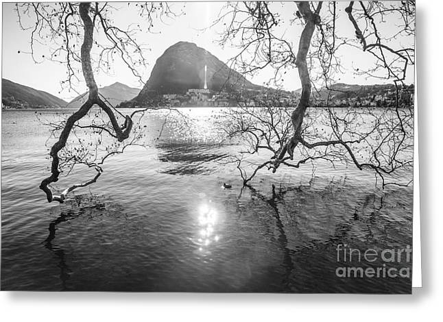 Tessin Greeting Cards - Tree Branches and San Salvatore Greeting Card by Ning Mosberger-Tang