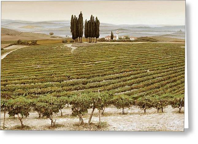 Italian Landscapes Greeting Cards - Tree Circle, Tuscany Oil On Canvas Greeting Card by Trevor Neal