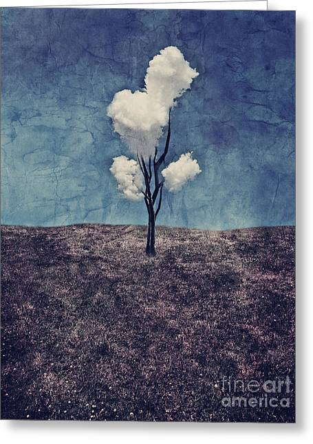 Landscape Art Greeting Cards - Tree Clouds 01d2 Greeting Card by Aimelle