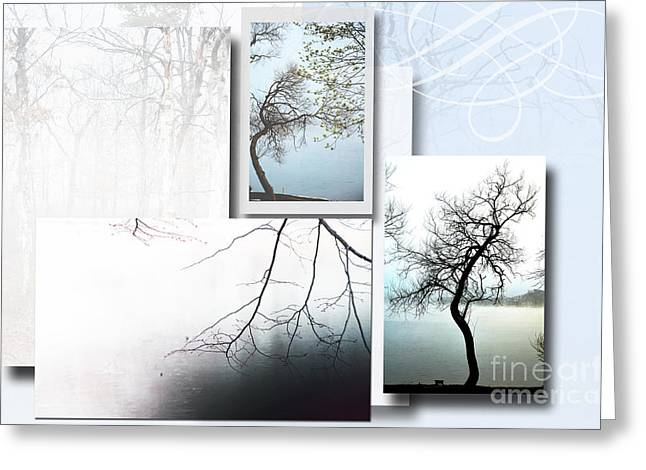 Love Letter Mixed Media Greeting Cards - Tree Collage 1 Greeting Card by ArtyZen Studios - ArtyZen Home
