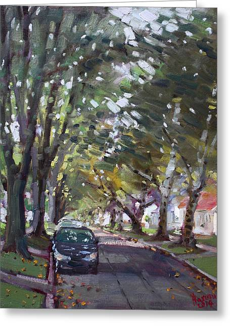 Fall Trees Greeting Cards - Tree Covered 81st Street LaSalle Greeting Card by Ylli Haruni