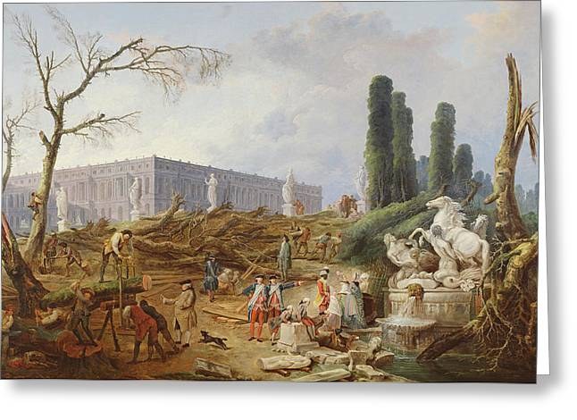 Bath House Greeting Cards - Tree Felling In The Garden Of Versailles Around The Baths Of Apollo, 1775-77 Oil On Canvas Greeting Card by Hubert Robert