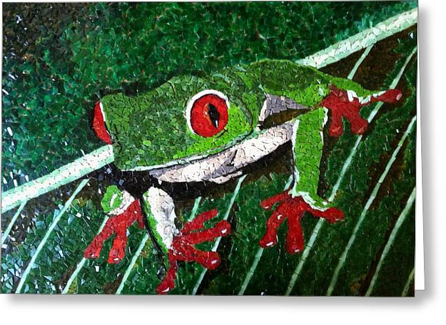 Green Leafs Glass Art Greeting Cards - Tree Frog Greeting Card by Monique Sarfity