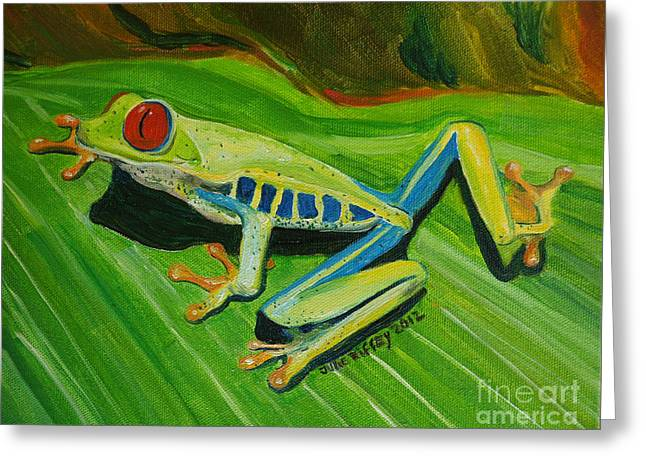Tree Frog Traction Greeting Card by Julie Brugh Riffey