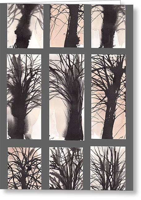 Millbury Greeting Cards - Tree grid Greeting Card by Sumiyo Toribe