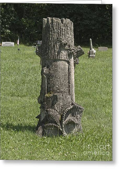 Photography By Govan. Vertical Format Greeting Cards - Tree Headstone Greeting Card by Andrew Govan Dantzler