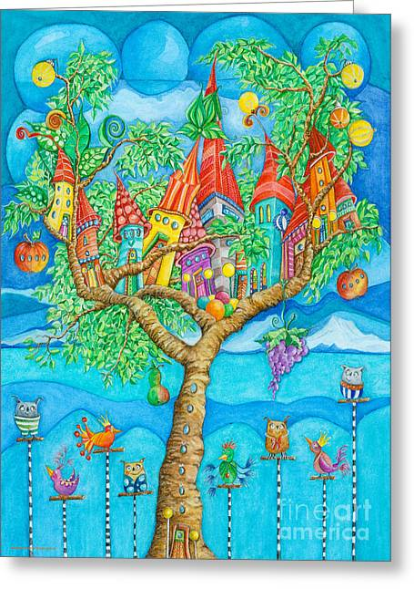Crafts For Kids Greeting Cards - Tree House Greeting Card by Sonja Mengkowski
