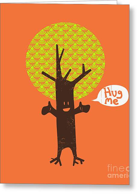 Hug Greeting Cards - Tree Hugger Greeting Card by Budi Kwan