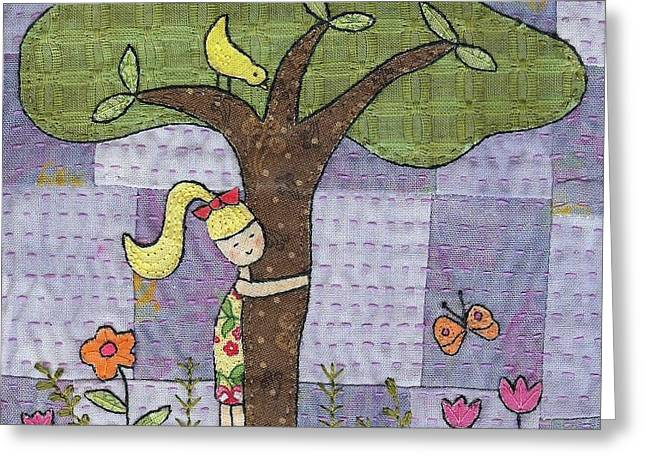 Whimsical Tapestries - Textiles Greeting Cards - Tree Hugging Greeting Card by Julie Bull