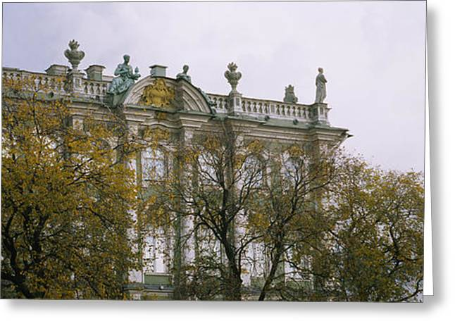 Winter Travel Greeting Cards - Tree In Front Of A Palace, Winter Greeting Card by Panoramic Images