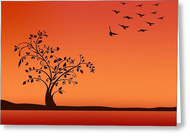 Bird On Tree Drawings Greeting Cards - Tree in sunset Greeting Card by Olivera Antic