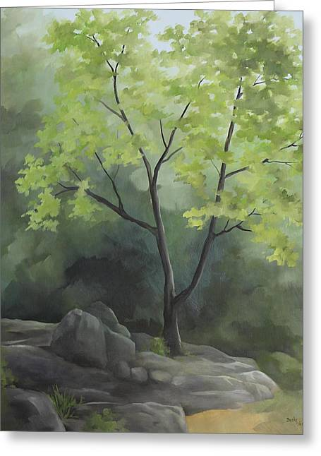 Becky Greeting Cards - Tree In The Rock Greeting Card by Becky West
