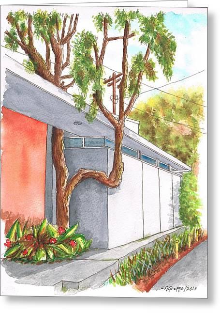 Architecrure Greeting Cards - Tree in U in Hollywood Hills - California Greeting Card by Carlos G Groppa